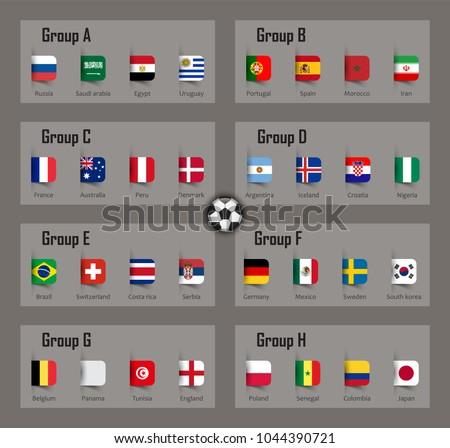 9fcc7ce7aa2 Soccer cup 2018 team group and national flags . Vector for international  world championship tournament .