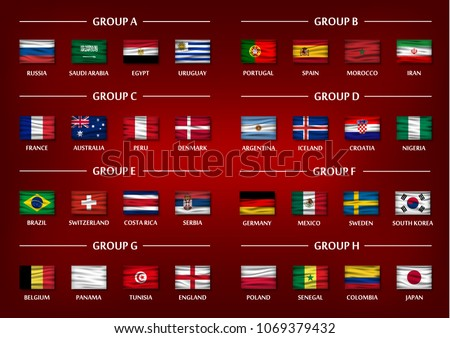 Soccer cup team group set . Realistic wavy national flags on gradient red color background . Vector for international world championship tournament 2018 . - Shutterstock ID 1069379432