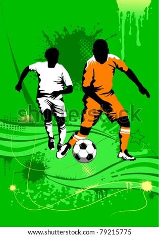 soccer design element; green background (vector-illustration);