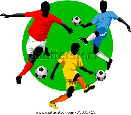soccer design element; green background (vector-illustration);