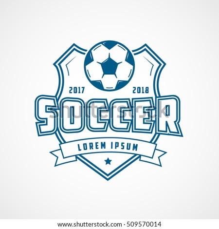 Soccer Emblem Blue Line Icon On White Background