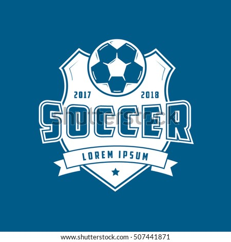 Soccer Emblem Flat Icon On Blue Background