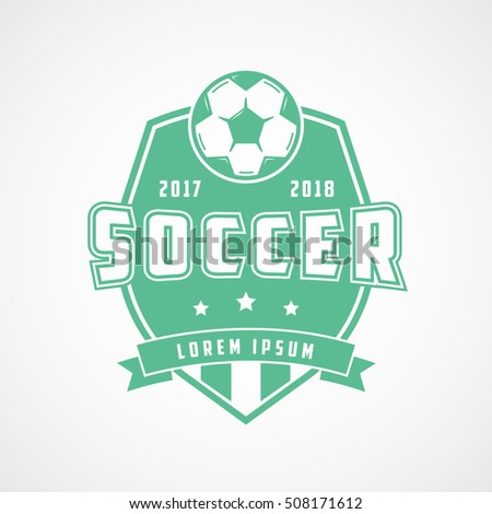 Soccer Emblem Green Flat Icon On White Background
