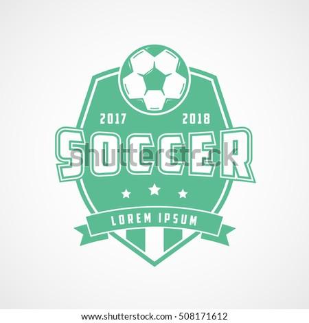 Soccer Emblem Green Flat Icon On White Background