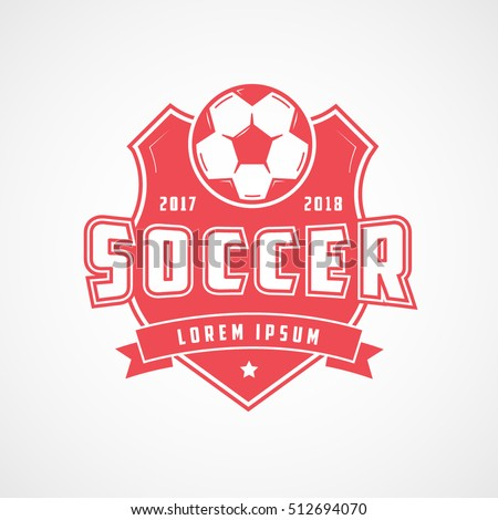 Soccer Emblem Red Flat Icon On White Background
