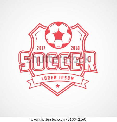 Soccer Emblem Red Line Icon On White Background