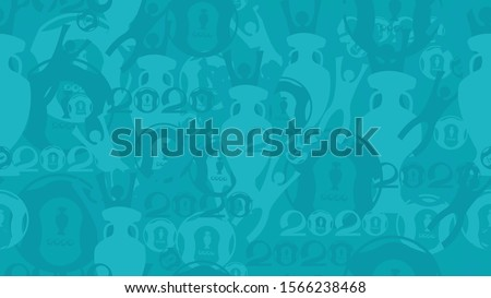 Soccer European championship. 2020. Abstract seamless football background. Poster Europe Champion. Award cup, Soccer ball, Winner, Wallpaper, Turquoise