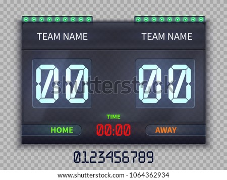 Soccer european football scoreboard with match time and score vector illustration isolated. Team soccer score, football game result match