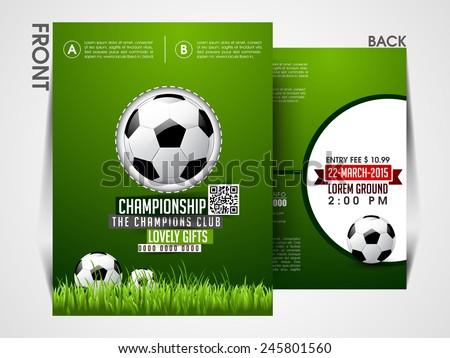 Soccer Event Flyer Template Eps10 Brochure Magazine Cover