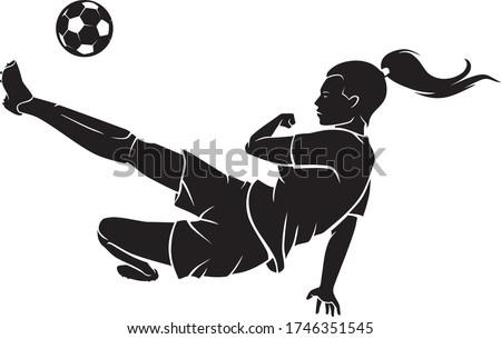 soccer female mid air kick