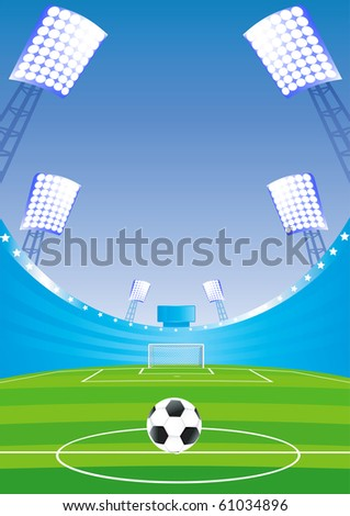 Soccer field and stadium with blue tribunes. Vector illustration.