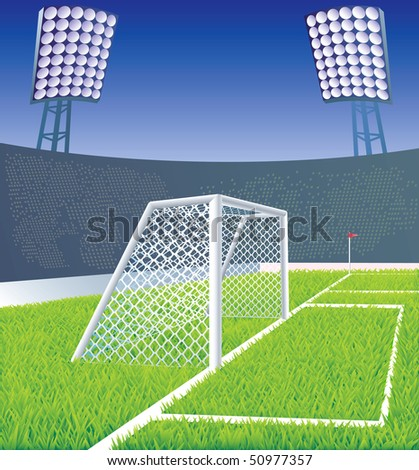 Soccer field and stadium with detailed goal and grass. Vector illustration.