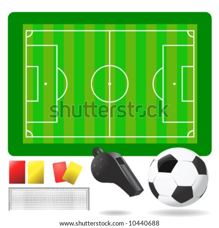 soccer field, ball and objects vector