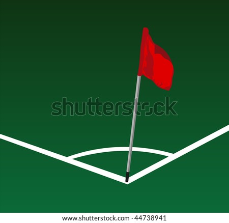 Soccer field corner with flying red flag