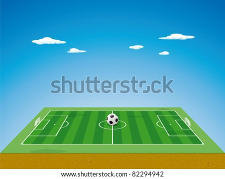 Soccer field / pitch or football field in 3D aerial perspective with ball on the center point, goals and corner flags