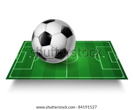 Soccer field with ball - vector