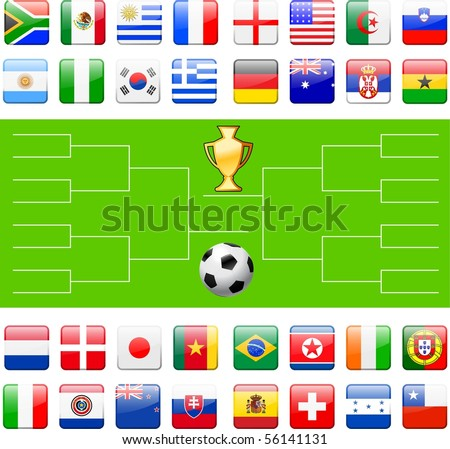 Soccer Field with Competing Team Flags Original Illustration