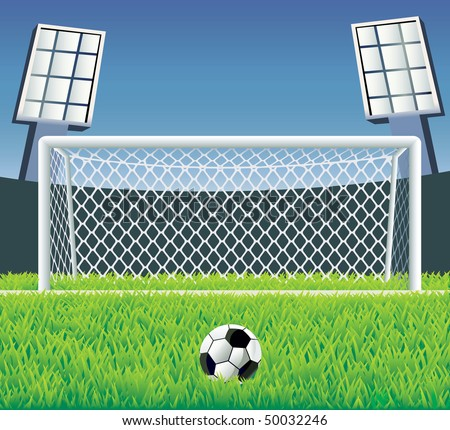 Soccer field with detailed goal and grass. Vector illustration.