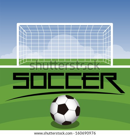 Soccer Field With Goal, Ball And Text