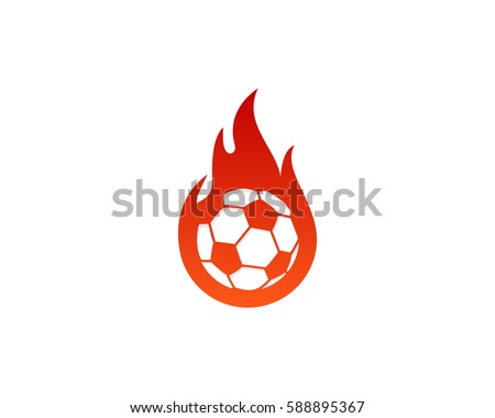 soccer fire logo design element
