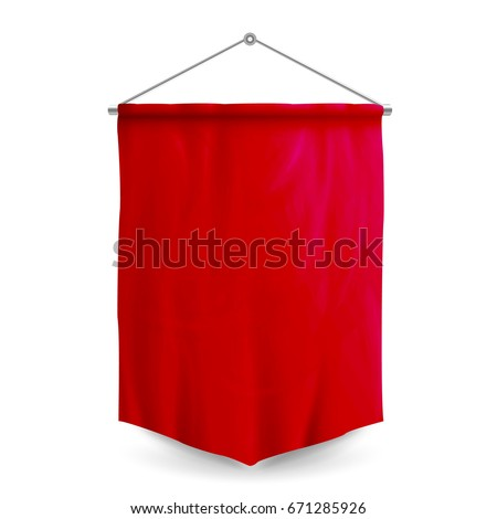 Soccer Flag Pennant Vector. Red Wall Hanged Pennant Template. Empty 3D Textile Soccer Football Flag Blank. Realistic Illustration