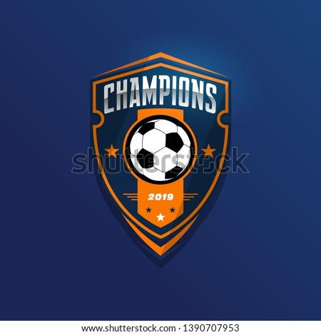 Soccer Football Badge Logo Design Templates | Sport Team Identity Vector Illustrations isolated on blue Background