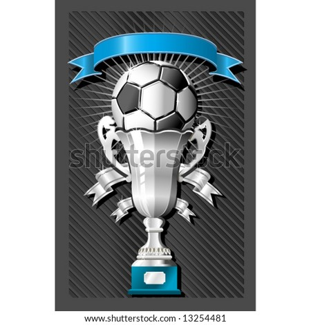 Soccer (football) ball and cup with ribbon