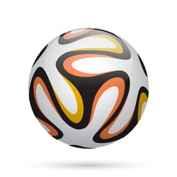 Soccer / Football ball with orange lines. Vector illustration.