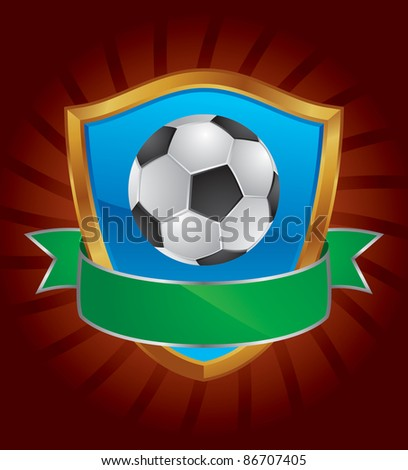 Soccer, football emblem Emblem with soccer, football elements and shield.