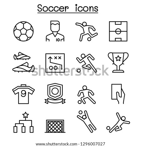 Soccer ,Football icon set in thin line style