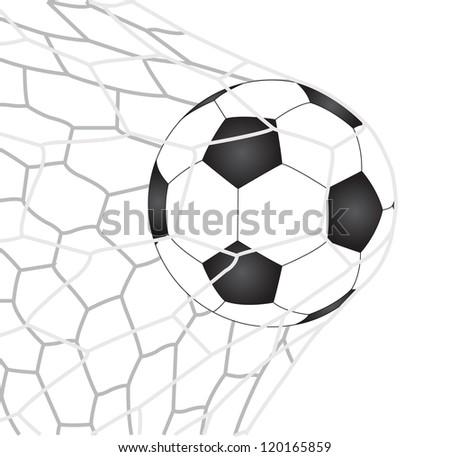 Soccer Football in Goal Net Vector, EPS 10. - stock vector