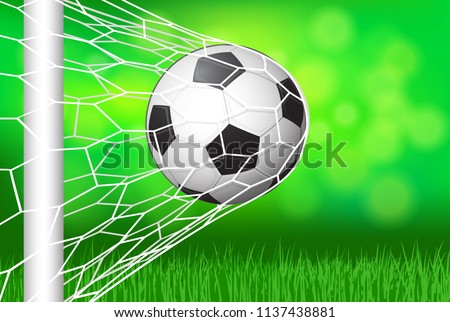 c3aeb4ed0 Soccer football in Goal net with green grass field and Bokeh  background-Vector design.