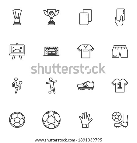 Soccer, football line icons set, outline vector symbol collection, linear style pictogram pack. Signs, logo illustration. Set includes icons as award cup, referee penalty card, soccer player, ball