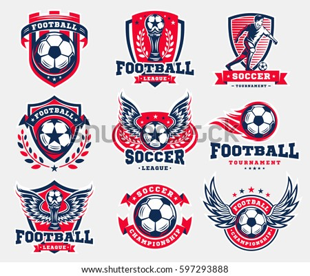 Soccer football logo, emblem collections, designs templates on a light background.