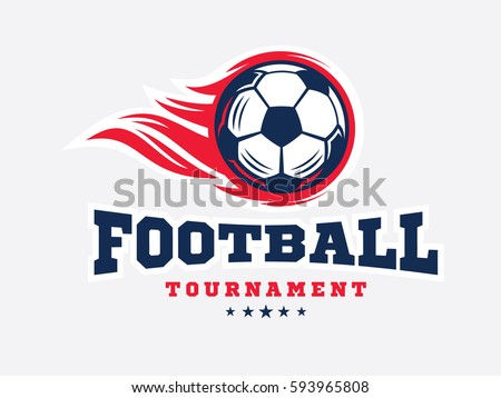 Soccer football logo, emblem designs templates on a light background