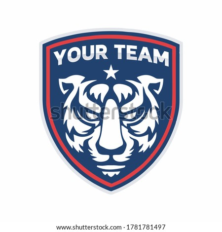 Soccer Football logo with Angry Tiger head mascot. Angry Tiger logo vector, Angry Tiger vector, esport Angry Tiger vector flat logo