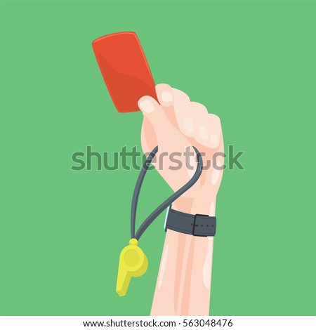 Soccer / Football Referee Hand With Red Card And Whistle. Cartoon Style Vector Illustration. Photo stock ©