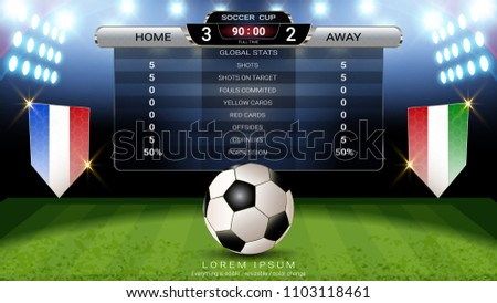 Soccer football scoreboard, Sport match Home Versus Away, Global stats broadcast graphic template with flag for score, statistics, shots or game results display (EPS10 vector fully editable)