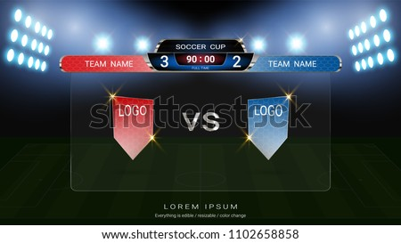 Soccer football scoreboard team A vs team B, Global stats broadcast graphic template with flag, For your presentation of the match results (EPS10 vector fully editable, resizable and color change)