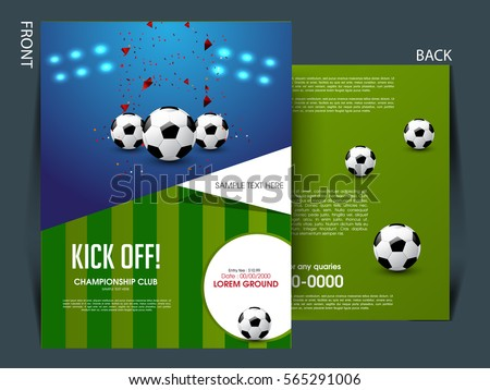 Soccer Football Tournament Championship Game Flyer Brochure Template
