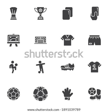 Soccer, football vector icons set, modern solid symbol collection, filled style pictogram pack. Signs, logo illustration. Set includes icons as award cup, referee penalty card, soccer player, ball