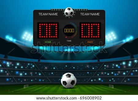 soccer football with scoreboard