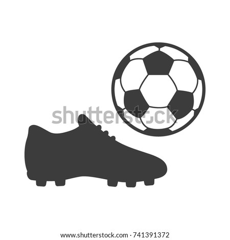 43be8d181 Soccer footwear and ball icon on white background. Bleck Vector  illustration football boots.
