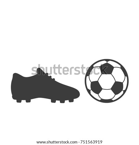 c6410bce9ec Soccer footwear and ball icon on white background. Bleck Vector  illustration football boots.