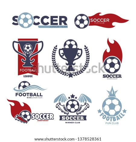 Soccer game isolated icons football sport championship vector ball and gold cup tournament or competition prize and award sporting equipment laurel wreath and flame emblems or logo boots and crown