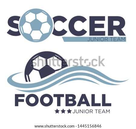 Soccer game isolated icons football sport championship vector ball tournament or competition prize and award sporting equipment emblems or logo with lettering junior team match or entertainment.