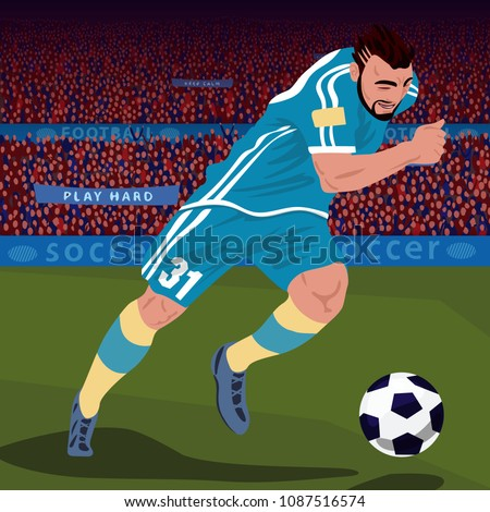 Soccer gameplay. Close up of football player in blue uniform running with ball in stadium, front side view, spectator area on background. Realistic style. Vector illustration