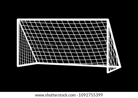 Soccer goal flat icon. Vector on background