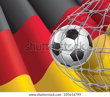soccer goal german flag with a
