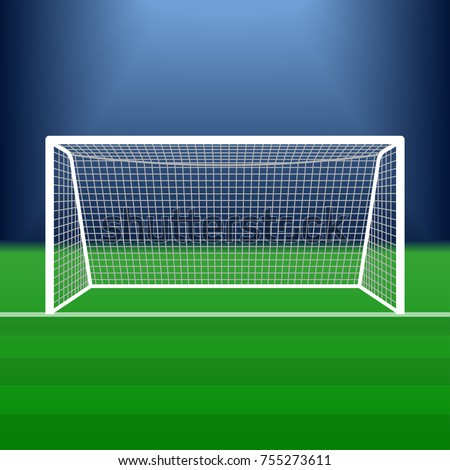 Soccer goal on the stadium. Football post or gate with net. Vector illustration.